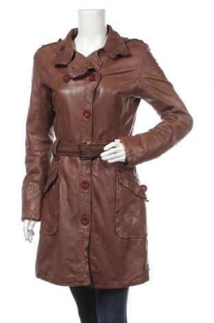 Дамски кожен шлифер, Размер M, Цвят Кафяв, Естествена кожа, Цена 61,85лв.
