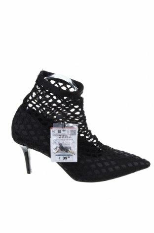 Дамски обувки Zara, Размер 37, Цвят Черен, Текстил, Цена 44,88лв.