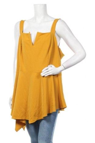 Γυναικείο αμάνικο μπλουζάκι City Chic, Μέγεθος XXL, Χρώμα Κίτρινο, 95% πολυεστέρας, 5% ελαστάνη, Τιμή 4,09€