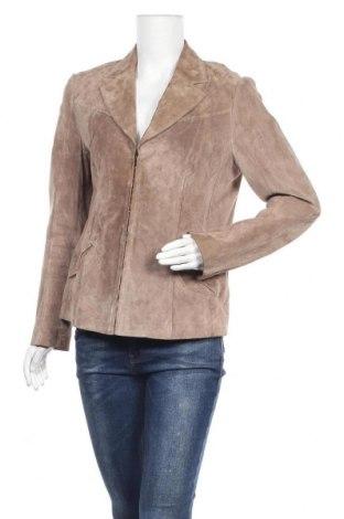 Дамско кожено сако Betty Barclay, Размер M, Цвят Бежов, Естествен велур, Цена 130,41лв.