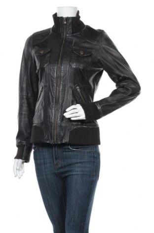 Дамско кожено сако Edc By Esprit, Размер M, Цвят Черен, Естествена кожа, Цена 78,54лв.