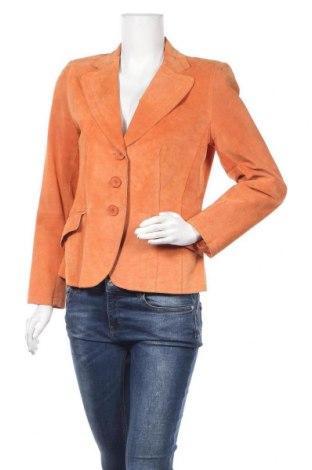 Дамско кожено сако Le Comte, Размер L, Цвят Оранжев, Естествен велур, Цена 49,14лв.