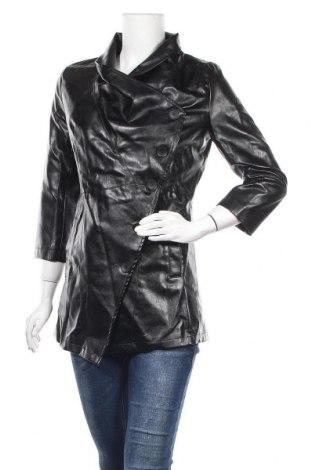 Дамско кожено яке, Размер L, Цвят Черен, Еко кожа, Цена 60,90лв.