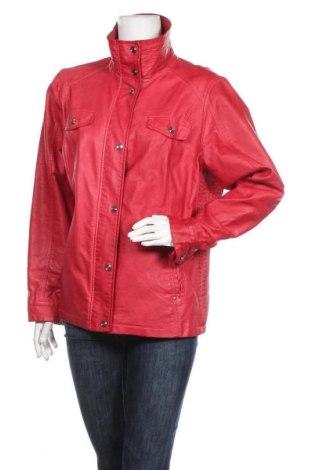 Дамско кожено яке, Размер XL, Цвят Червен, Еко кожа, Цена 40,90лв.