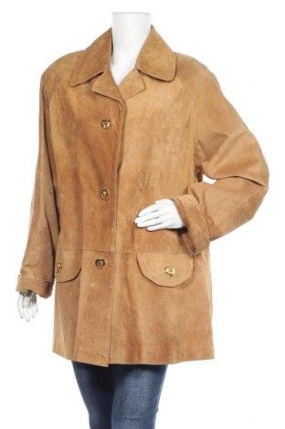 Дамско кожено яке, Размер XL, Цвят Бежов, Естествен велур, Цена 48,51лв.