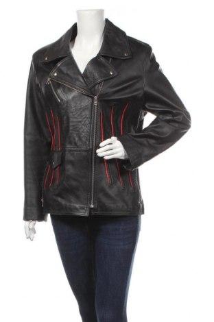 Дамско кожено яке, Размер L, Цвят Черен, Естествена кожа, Цена 58,59лв.