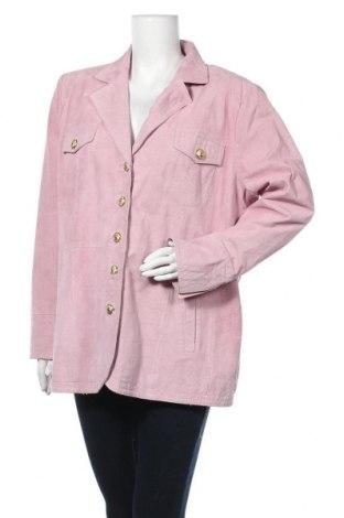 Дамско кожено яке, Размер XL, Цвят Розов, Естествен велур, Цена 56,07лв.