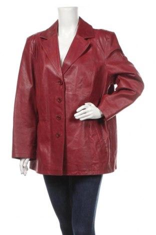 Дамско кожено яке, Размер XXL, Цвят Червен, Естествена кожа, Цена 80,80лв.