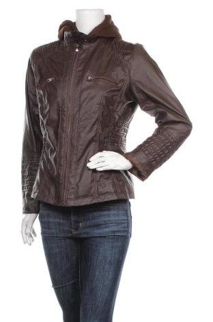 Дамско кожено яке, Размер L, Цвят Кафяв, Еко кожа, Цена 44,10лв.