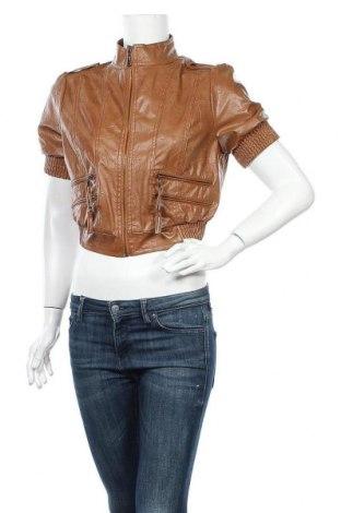 Дамско кожено яке, Размер L, Цвят Кафяв, Еко кожа, Цена 23,68лв.