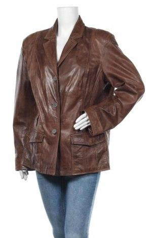 Дамско кожено яке, Размер XL, Цвят Кафяв, Естествена кожа, Цена 63,21лв.