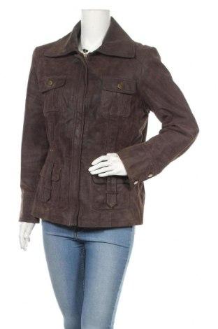 Дамско кожено яке Biaggini, Размер XL, Цвят Кафяв, Естествен велур, Цена 82,22лв.