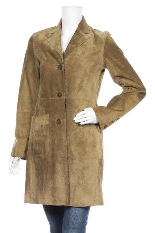 Дамско кожено яке H&M, Размер M, Цвят Зелен, Естествен велур, Цена 46,20лв.