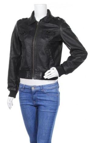 Дамско кожено яке H&M, Размер M, Цвят Черен, Естествена кожа, Цена 73,50лв.