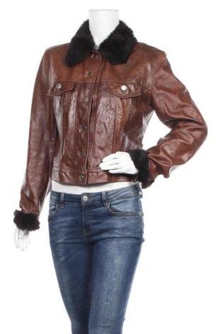 Дамско кожено яке Hallhuber, Размер L, Цвят Кафяв, Естествена кожа, естествен косъм, Цена 117,18лв.