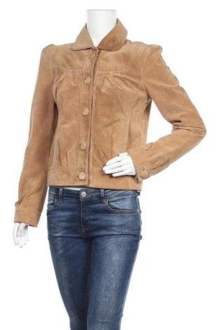 Дамско кожено яке Hallhuber, Размер M, Цвят Бежов, Естествена кожа, Цена 36,23лв.