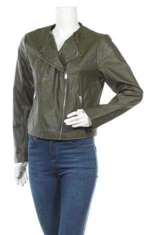 Дамско кожено яке Mango, Размер XL, Цвят Зелен, Еко кожа, Цена 40,64лв.