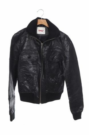 Дамско кожено яке ONLY, Размер M, Цвят Черен, Естествена кожа, Цена 89,25лв.