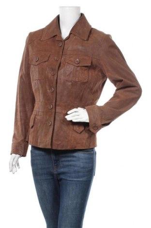 Дамско кожено яке Yessica, Размер M, Цвят Кафяв, Естествена кожа, Цена 51,87лв.