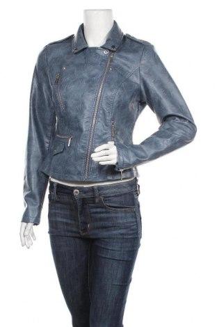 Дамско кожено яке Yessica, Размер M, Цвят Син, Еко кожа, Цена 35,91лв.
