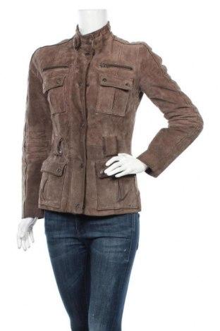 Дамско кожено яке Zara, Размер S, Цвят Кафяв, Естествен велур, Цена 15,23лв.