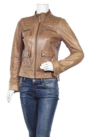Γυναικείο δερμάτινο μπουφάν Zara, Μέγεθος M, Χρώμα Καφέ, Γνήσιο δέρμα, Τιμή 57,80€