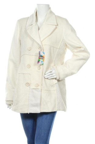 Дамско палто Desigual, Размер XL, Цвят Екрю, 40% полиестер, 35% вълна, 21% акрил, 3% полиамид, 1% еластан, Цена 119,07лв.