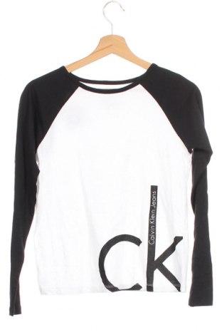 Детска блуза Calvin Klein Jeans, Размер 15-18y/ 170-176 см, Цвят Бял, Памук, Цена 33,60лв.
