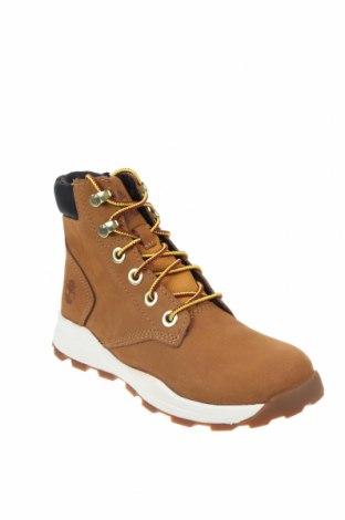 Детски обувки Timberland, Размер 35, Цвят Кафяв, Естествена кожа, текстил, Цена 186,75лв.