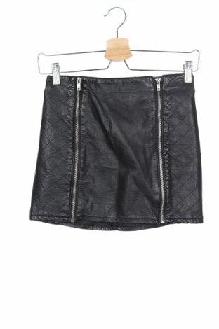 Кожена пола H&M Divided, Размер XS, Цвят Черен, Еко кожа, Цена 8,75лв.