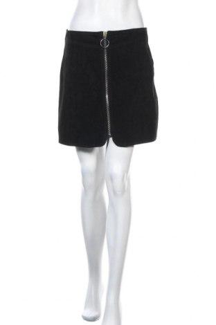 Кожена пола Zara, Размер M, Цвят Черен, Естествен велур, Цена 14,47лв.