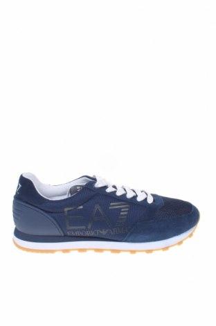 Мъжки обувки Emporio Armani, Размер 42, Цвят Син, Естествен велур, полиуретан, текстил, Цена 202,95лв.