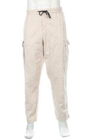 Pánské kalhoty  H&M, Velikost XL, Barva Béžová, 53% len, 47% bavlna, Cena  223,00Kč