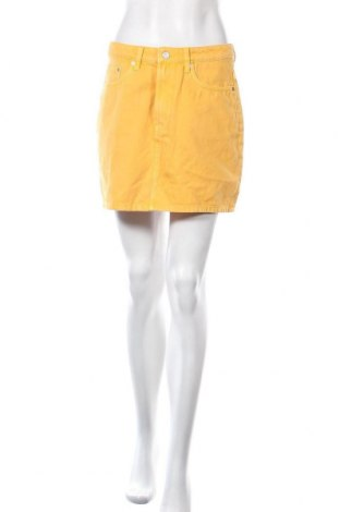 Пола Weekday, Размер M, Цвят Жълт, Памук, Цена 36,75лв.