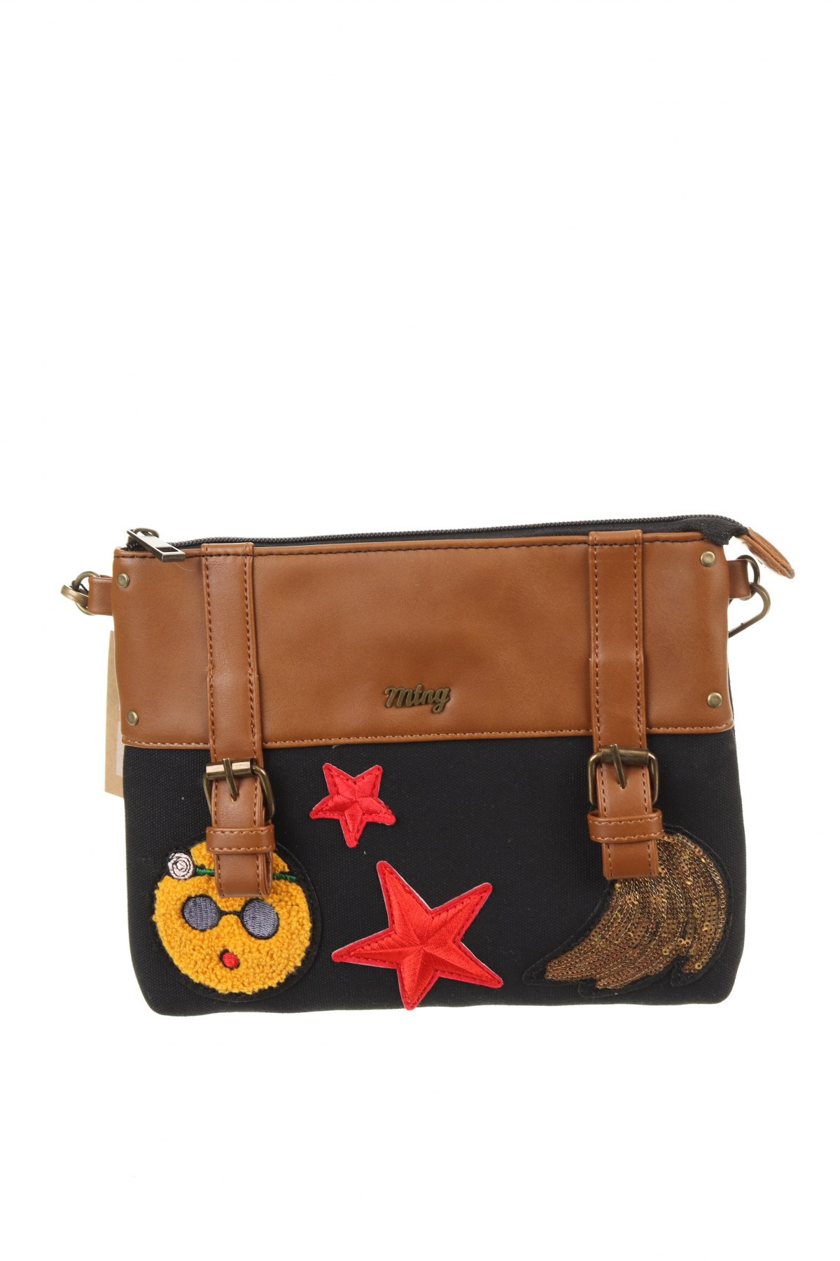 Дамска чанта Mtng, Цвят Черен, Текстил, еко кожа, Цена 17,16лв.
