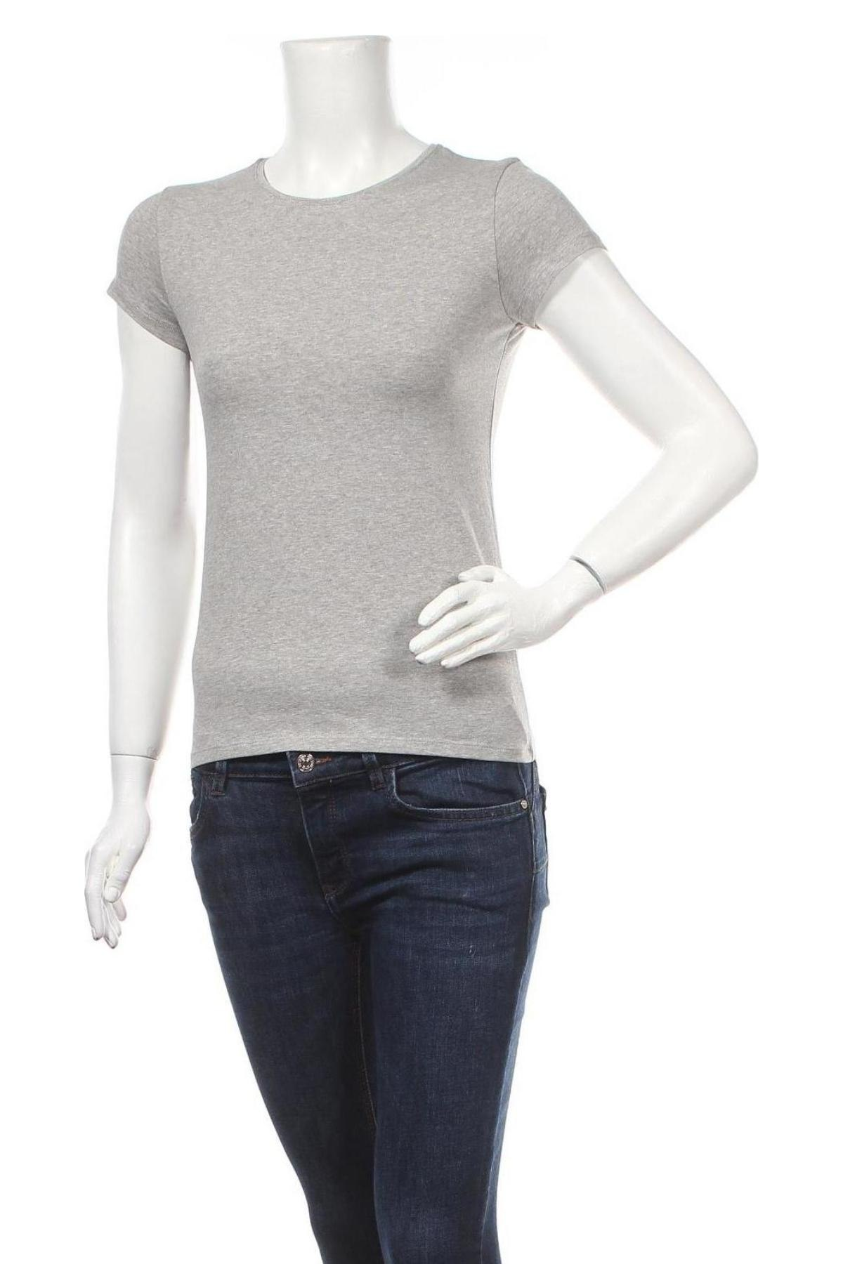 Дамска тениска Massimo Dutti, Размер S, Цвят Сив, 98% памук, 2% еластан, Цена 20,65лв.