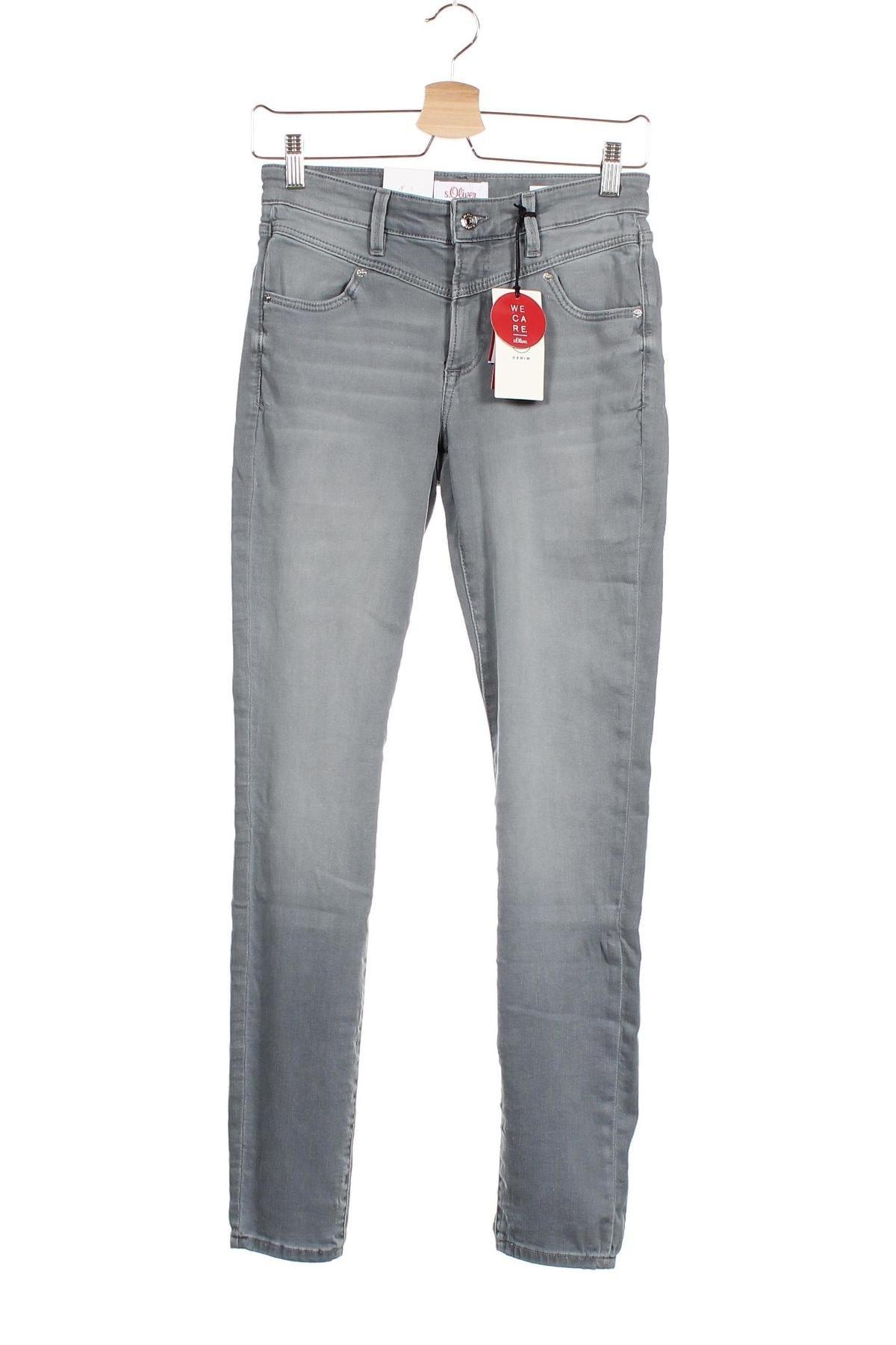 Дамски дънки S.Oliver, Размер XS, Цвят Сив, 86% памук, 12% полиестер, 2% еластан, Цена 22,25лв.