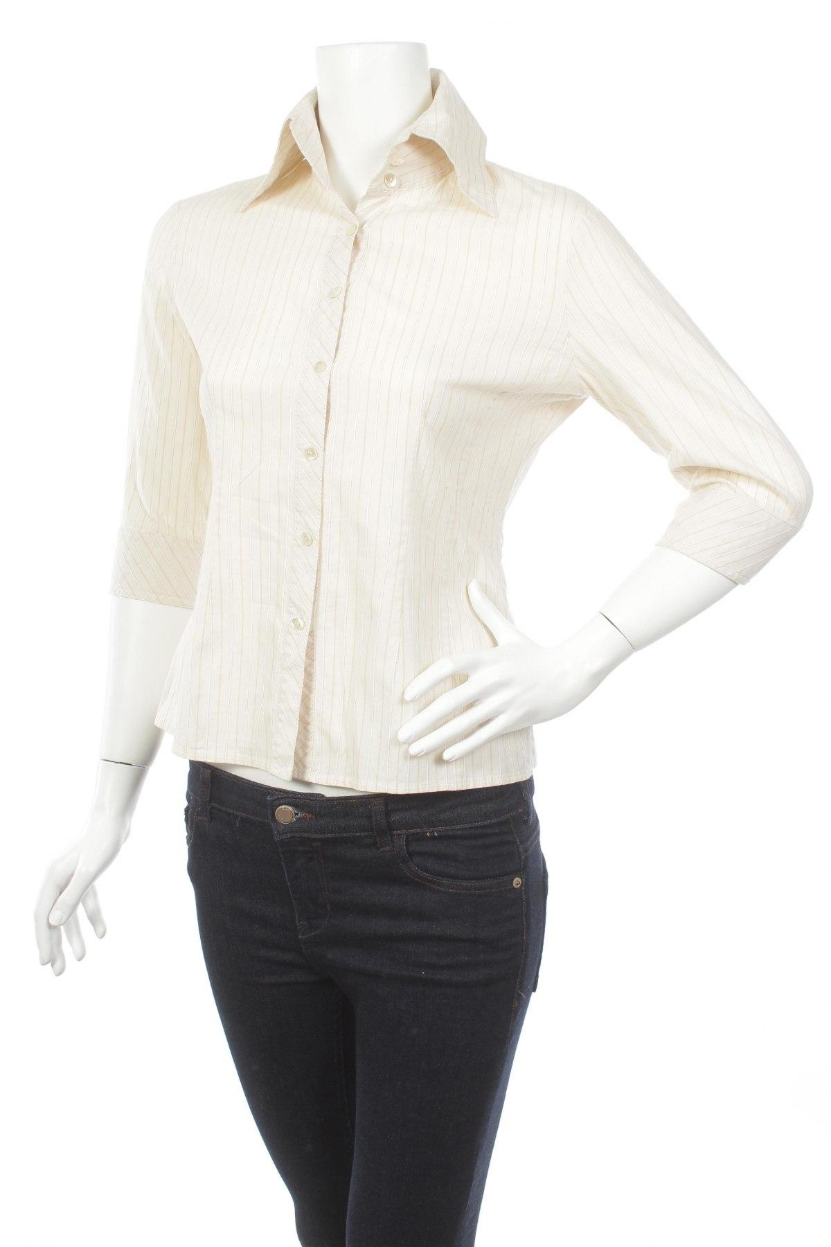 Γυναικείο πουκάμισο, Μέγεθος M, Χρώμα Εκρού, 97% βαμβάκι, 3% ελαστάνη, Τιμή 14,23€