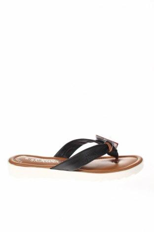 Papuci de casă S.Oliver, Mărime 39, Culoare Negru, Piele naturală, Preț 151,76 Lei