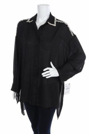 Cămașă de femei Zara, Mărime M, Culoare Negru, Poliester, Preț 57,11 Lei