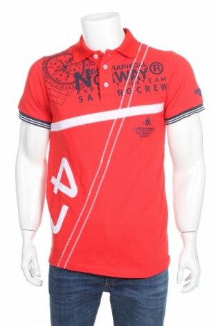 Tricou de bărbați Geographical Norway, Mărime M, Culoare Roșu, Bumbac, Preț 97,82 Lei