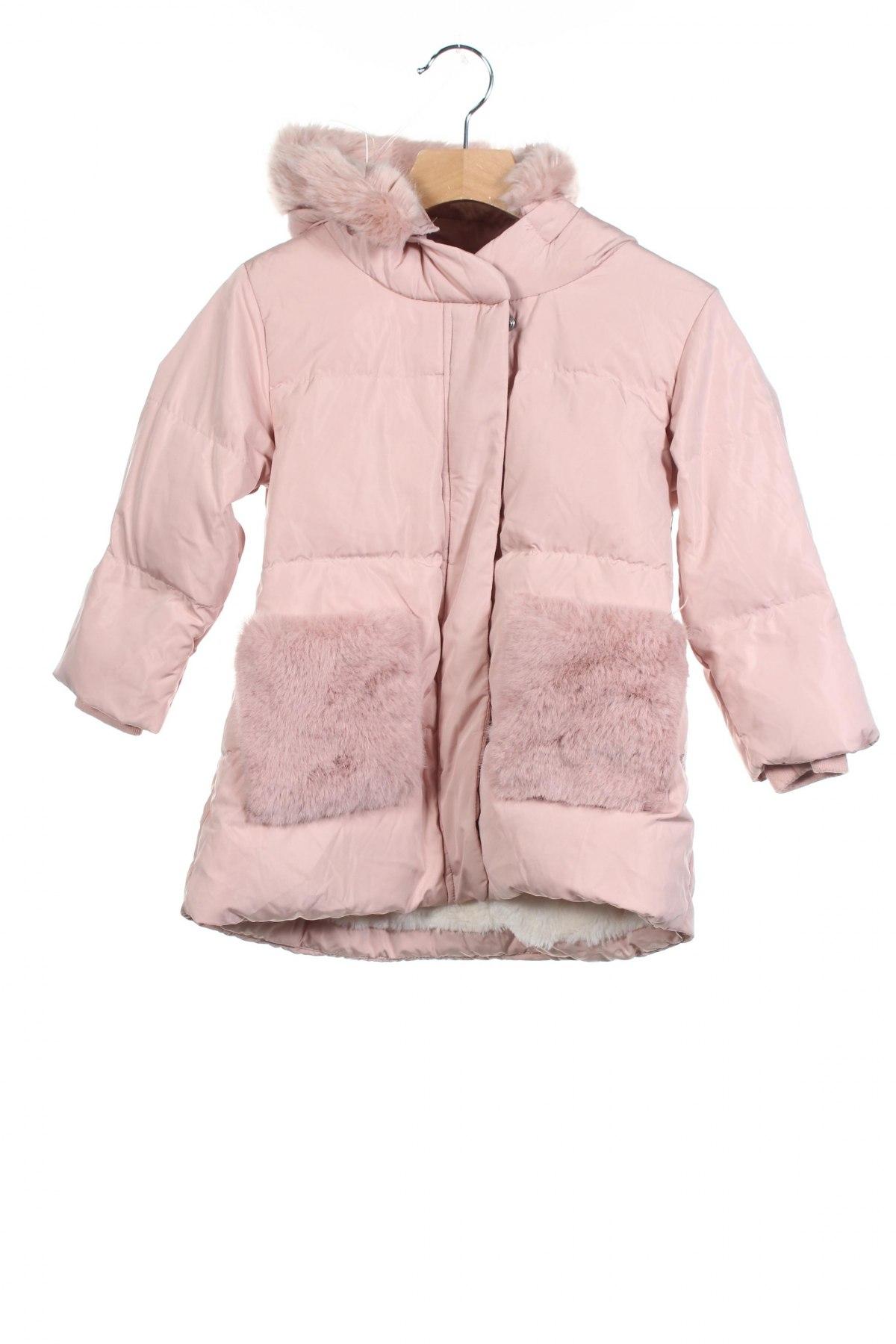 Детско яке Zara Kids, Размер 3-4y/ 104-110 см, Цвят Розов, Полиестер, пух и пера, Цена 42,90лв.