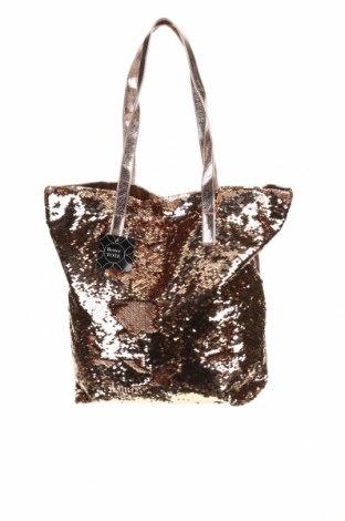 Дамска чанта, Цвят Златист, Текстил, еко кожа, Цена 37,80лв.