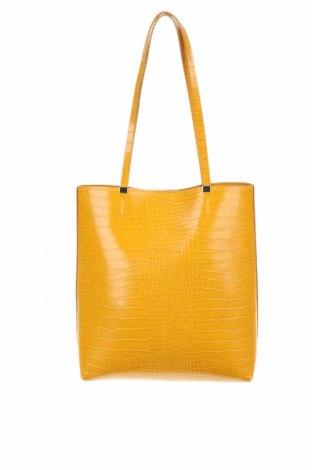 Γυναικεία τσάντα Zara, Χρώμα Κίτρινο, Δερματίνη, Τιμή 21,34€