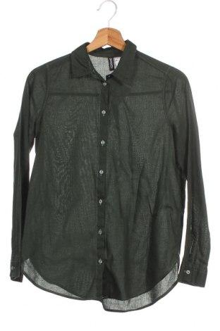 Γυναικείο πουκάμισο H&M Divided, Μέγεθος XXS, Χρώμα Πράσινο, 100% βαμβάκι, Τιμή 3,56€