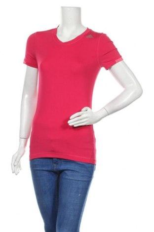 Γυναικείο t-shirt Adidas, Μέγεθος S, Χρώμα Ρόζ , 84% πολυεστέρας, 16% ελαστάνη, Τιμή 11,82€