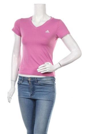 Γυναικείο t-shirt Adidas, Μέγεθος XS, Χρώμα Ρόζ , Τιμή 12,99€