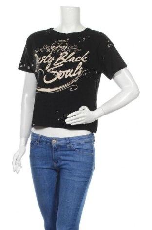 Дамска тениска Bershka, Размер S, Цвят Черен, Памук, Цена 14,30лв.
