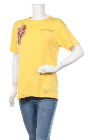 Дамска тениска Ed Hardy By Christian Audigier, Размер XL, Цвят Жълт, Памук, Цена 20,79лв.