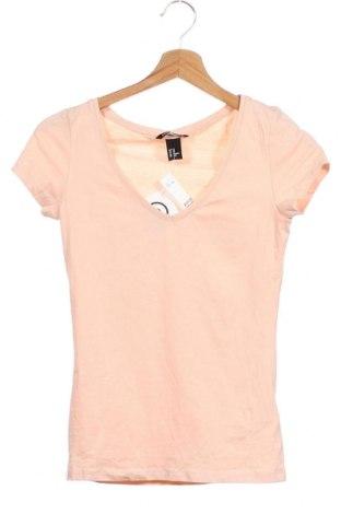 Дамска тениска H&M, Размер XS, Цвят Розов, 95% памук, 5% еластан, Цена 19,60лв.
